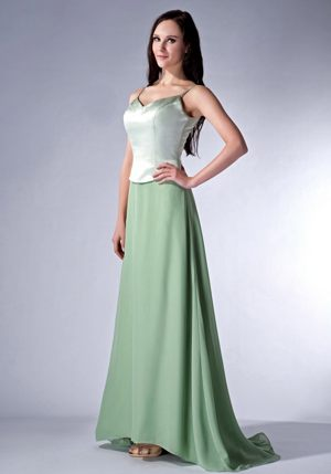 Apple Green Spaghetti Straps Brush Train Thornton Bridesmaid Dress