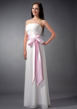 Ruched White and Baby Pink Sash Chiffon Pittenweem Bridesmaid Dress