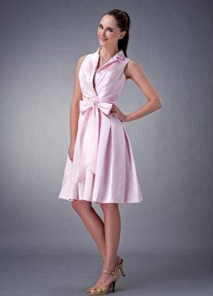 V-neck Baby Pink Princess Satin Ruched Brand Bridesmaid Dress with Bow