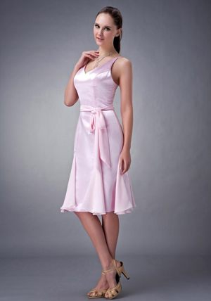 Baby Pink V-neck Sash Bridesmaid Dress for Wedding Party in Leven