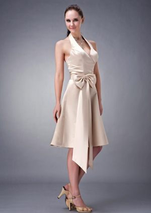 Halter Satin Champagne Bridesmaid Dress with Sash in Inverkeithing