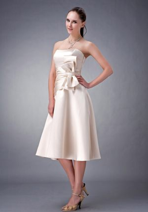 Bowknot Champagne Strapless Satin Sash Kinglassie Bridesmaid Dress