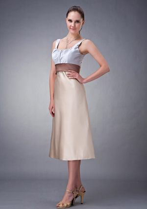 Champagne Column Satin Scoop Bridesmaid Dress with Belt in Ladybank