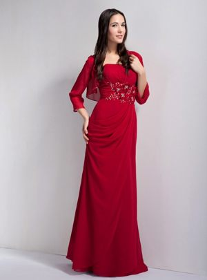 Red Column Strapless Chiffon Beaded Bridesmaid Dress in Kirkcaldy