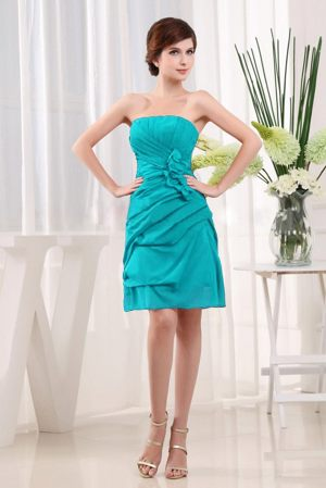 Flowers One Shoulder Ruched Turquoise Bridesmaid Dress in Cardenden