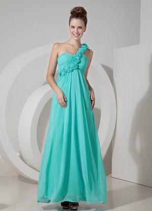High-low Spring Green Spaghetti Straps Beaded Bridesmaid Dress 2014