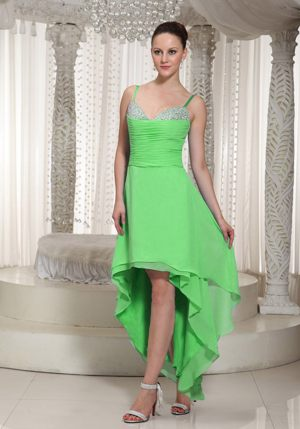 Beaded One Shoulder High-low Layered Chiffon Gauldry Bridesmaid Dress