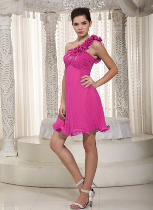 Hot Pink Chiffon Ruched One Shoulder Flowers Ceres Bridesmaid Dress
