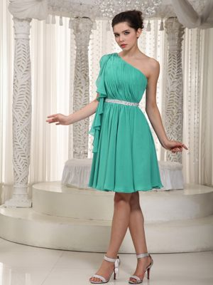 Turquoise One Shoulder Chiffon Beaded Bridesmaid Dress in Burntisland