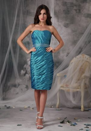 Ruched Teal Strapless Taffeta Ruffles Auchtermuchty Bridesmaid Dress