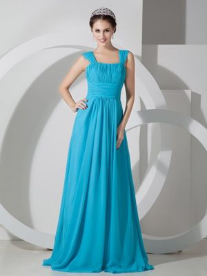 Square Teal Chiffon Ruching Train Bridesmaid Dresses in Anstruther