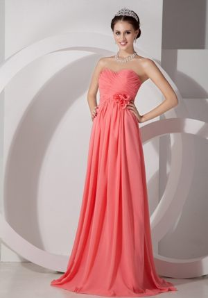 Watermelon Chiffon Ruched Hand Made Flowers Train Bridesmaid Dresses