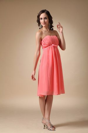 Pleated Watermelon Red Chiffon Ruched Bridesmaid Dress in Thornhill
