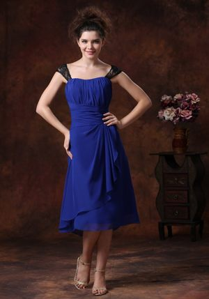 Lace Chiffon Ruched Straps Navy Blue Lockerbie Bridesmaid Dresses