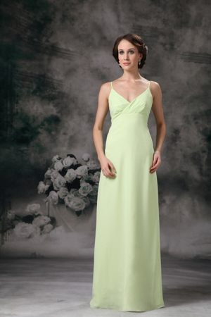 Yellow Green Spaghetti Straps Chiffon Bridesmaid Dress in Langholm