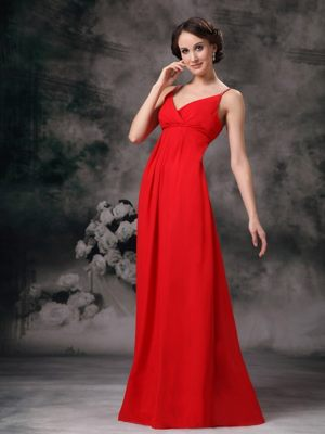 Cute Red Straps Chiffon Cheap Bridesmaid Dresses in Kirkcudbright