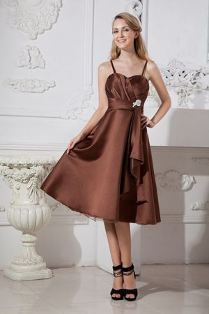 Brown Beading Ruched Bridesmaid Dresses with Spaghetti Straps