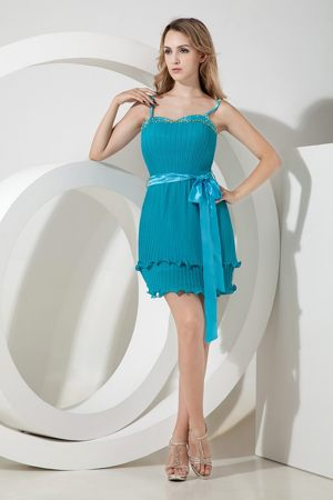 Pleated Spaghetti Straps Beading Bow Organza Short Bridesmaid Dresses