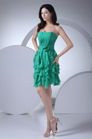 Ruffled Layers Ruched Flowers Green Short Bridesmaid Dress with Sash