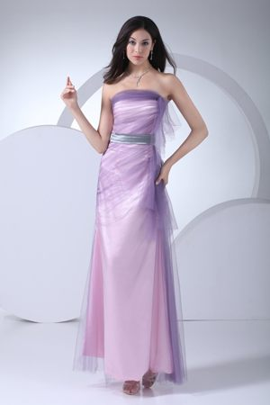 Lilac Ruching Layered Bridesmaid Dress with Silver Sash in Beeswing