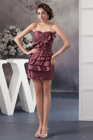 Tiered Burgundy Taffeta Ruched Bridesmaids Dresses in Dunblane Stirling