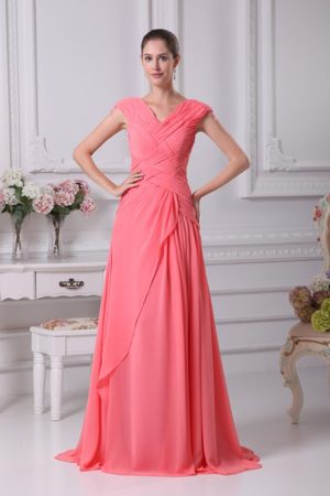 Watermelon Red Ruching V-neck Cap Sleeves Dunblane Bridemaid Dress