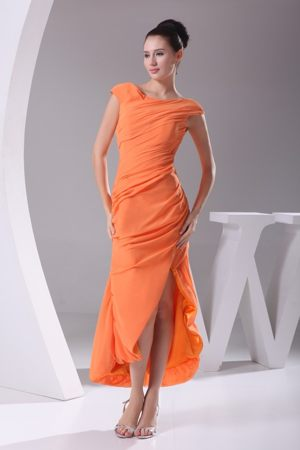 Orange Scoop High Slit Bridemaid Dress with Cap Sleeves in Crianlaric