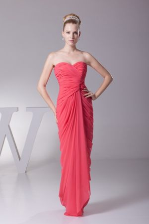 Ruched Sweetheart Watermelon Chiffon Clackmannanshire Bridemaid Gowns