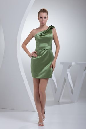 Layered One Shoulder Olive Green Satin Bridemaid Dress in Larbert