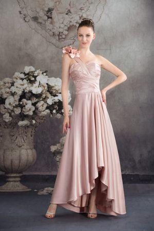 Flowers One Shoulder High-low Ruched Pink Tillicoultry Bridemaid Dress
