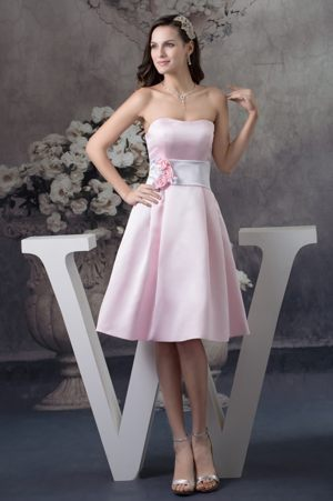 Hand Made Flowers Satin Baby Pink Bridemaid Dresses in Killearn Central