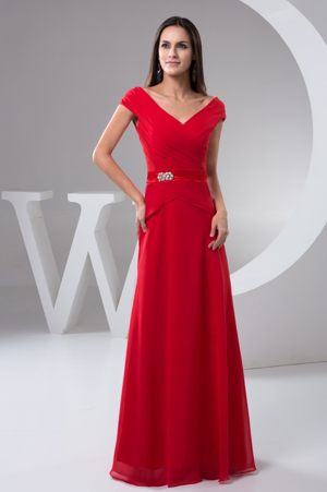 Ruched Off The Shoulder Red Bridemaid Dresses with Short Sleeves