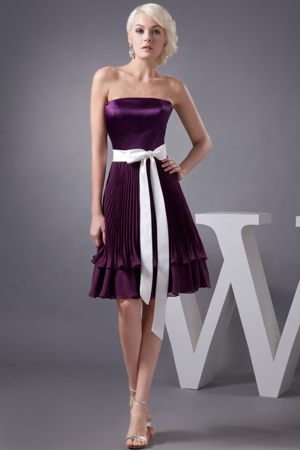 Pleated Eggplant Purple Falkirk Bridemaid Dresses with White Sash