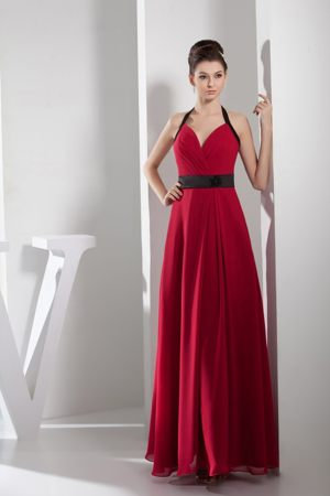 Simple Halter Sash Long Red and Black Bridemaid Dresses in Falkirk