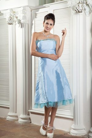 Baby Blue Ruched Strapless Taffeta Balmaha Maternity Bridemaid Dress