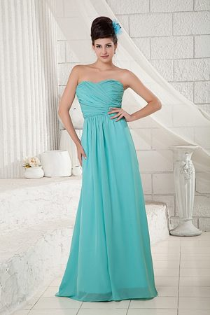 Turquoise Sweetheart Ruched Brush Train Bridesmaid Dress in Balmaha