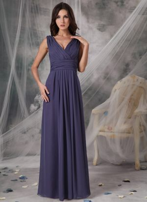 Cheap V-neck Ruched Chiffon Bridesmaid Dress in West Linton Borders