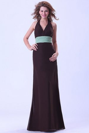 Brown Halter Ruched Chiffon Green Belt Hawick Maternity Bridemaid Dress