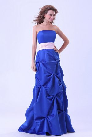 Pick-ups Blue Ruched Bridemaid Dress with Pink Sash for Church Wedding