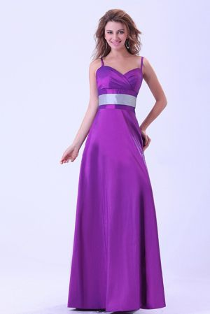 Spaghetti Straps Purple Ruched Belt Bridemaid Dress in Duns Borders