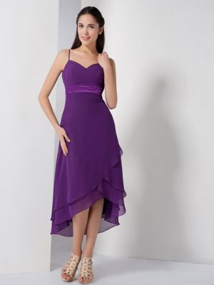 Eggplant Purple High-low Bridesmaid Dress with Spaghetti Straps