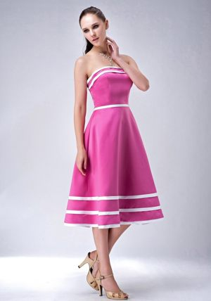 Hot Pink A-line Strapless Tea-length Bridesmaid Dress for Church Wedding