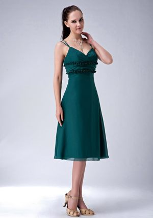 Empire Teal Straps Bridesmaid Dress Tea-length with Flouncing