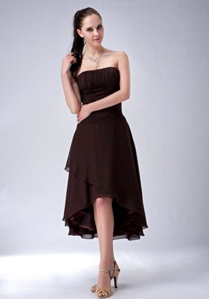 Simple Brown High-low Dress for Bridesmaid Strapless in Hannibal
