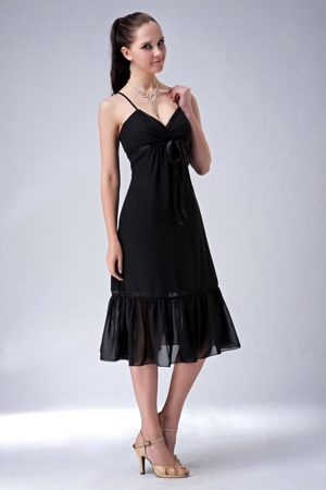 Empire Straps Black Maternity Bridesmaid Dress Ruched Tea-length