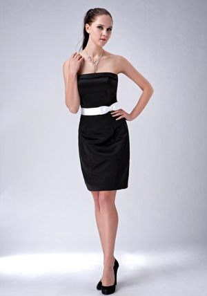 Strapless Black Column Bow Bridesmaid Dress Mini-length in Joplin