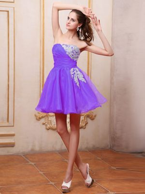 Purple Wedding Outfits For Bridesmaid with Appliques Mini-length