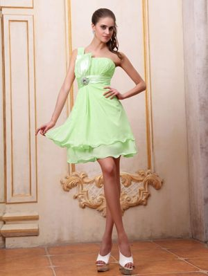 One Shoulder Yellow Green Formal Bridesmaid Dresses with Beading