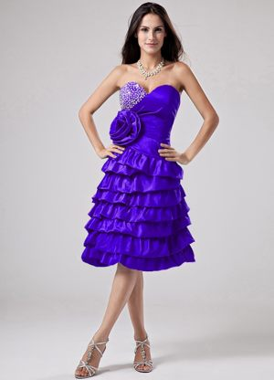 Purple Bridesmaid Dress Sweetheart Ruffled Layers in Branson West
