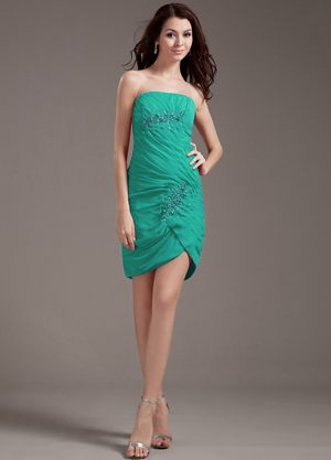 Beading Strapless Turquoise Mini-length Appliques Bridesmaid Gown